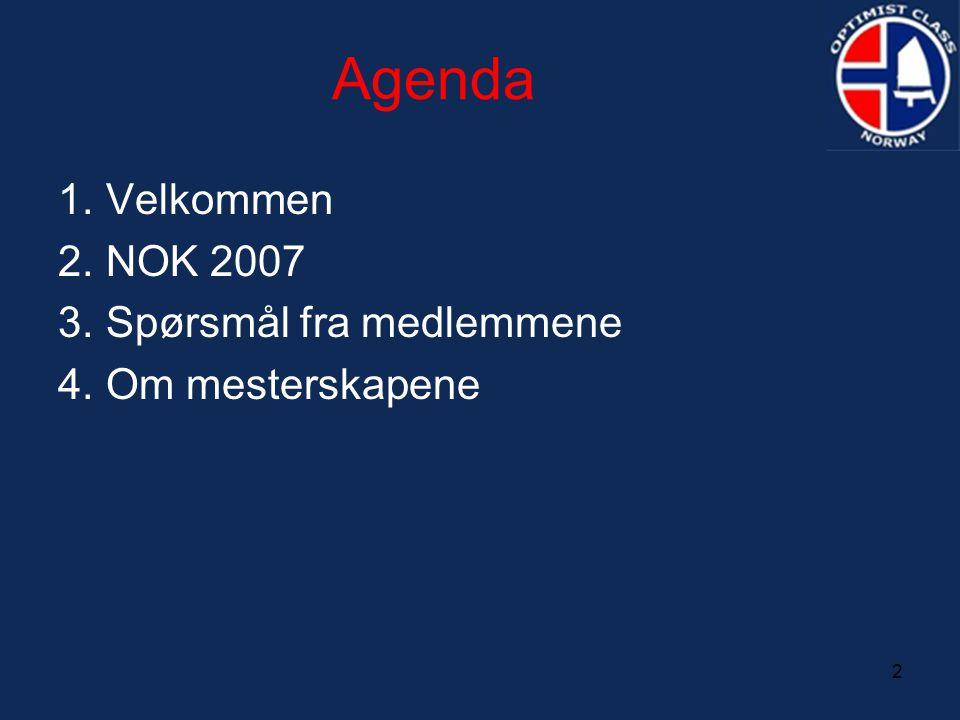 2 Agenda 1. Velkommen 2. NOK 2007 3. Spørsmål fra medlemmene 4. Om mesterskapene