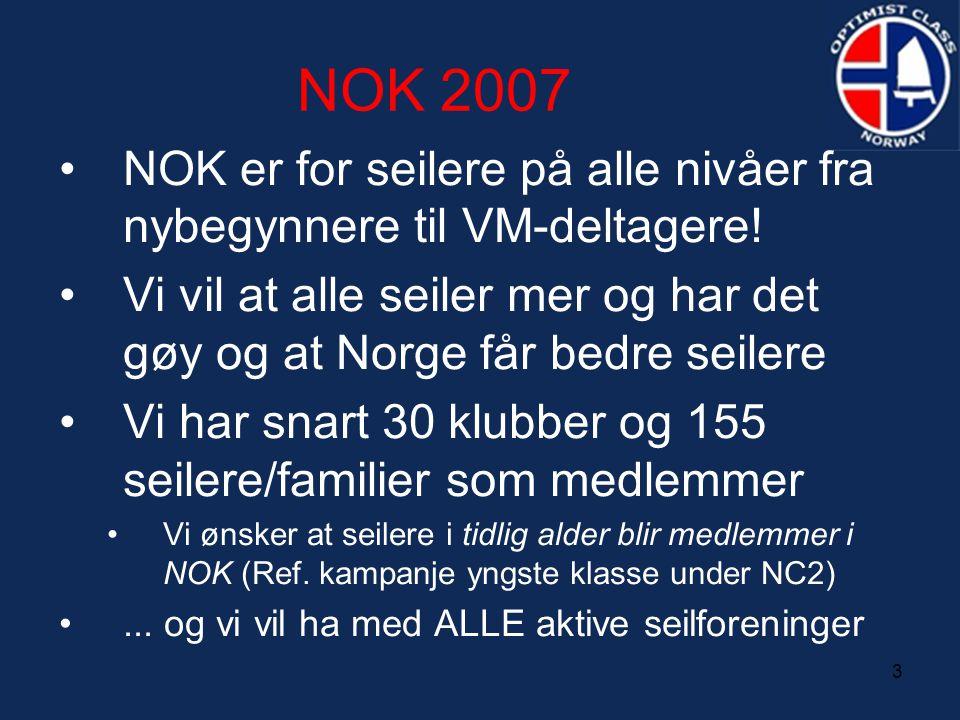 3 NOK 2007 •NOK er for seilere på alle nivåer fra nybegynnere til VM-deltagere! •Vi vil at alle seiler mer og har det gøy og at Norge får bedre seiler