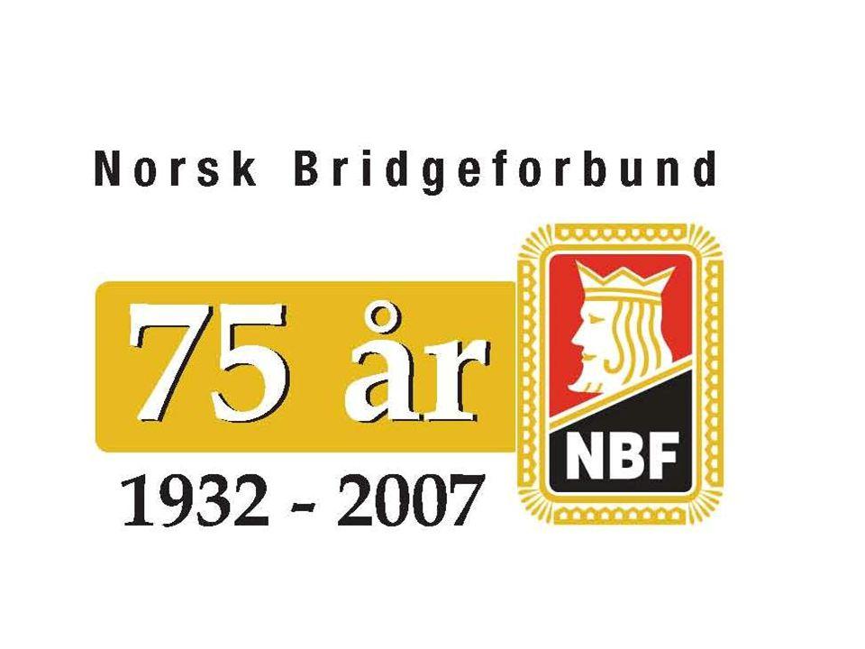Norges Bridgeforbund  9.700 medlemmer over hele landet  430 Bridgeklubber som har spillekvelder hver uke  25 Bridgekretser som organiserer klubbene i sine regioner  Seriespilling for 600 lag i 4 divisjoner  Arrangør av Norsk Bridgefestival