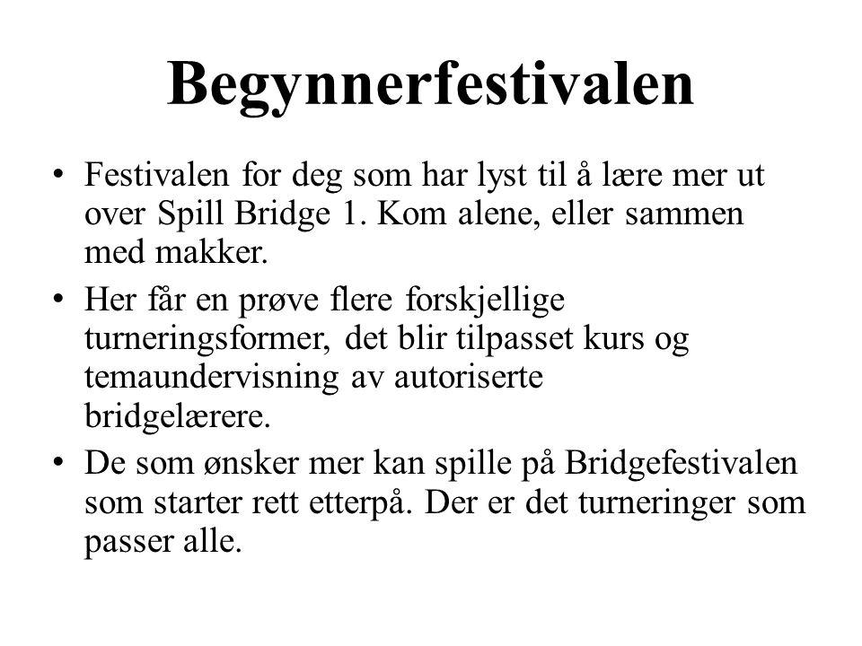 Begynnerfestivalen • Festivalen for deg som har lyst til å lære mer ut over Spill Bridge 1.
