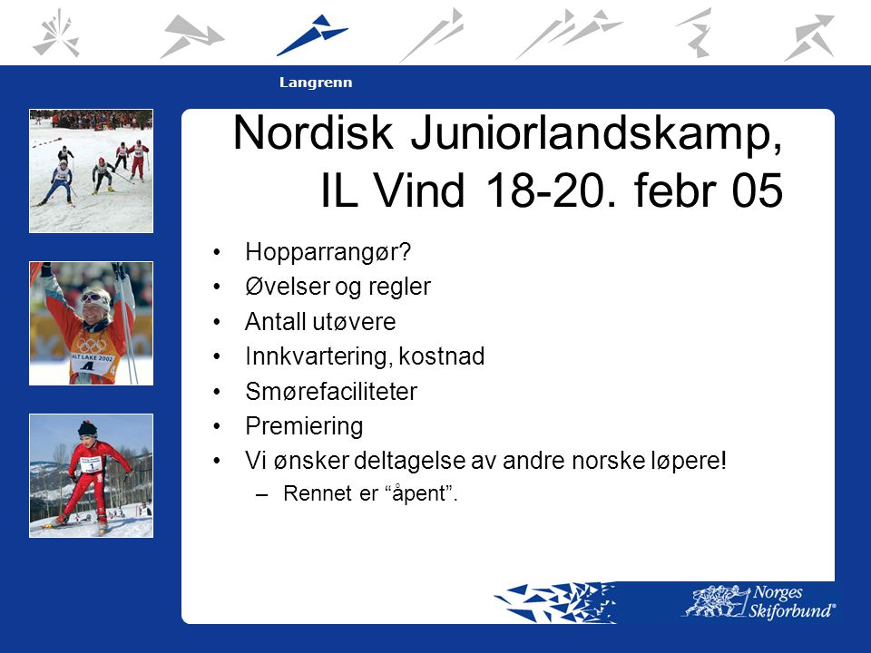 8 Langrenn Nordisk Juniorlandskamp, IL Vind 18-20.