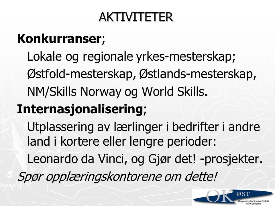 Konkurranser; Lokale og regionale yrkes-mesterskap; Østfold-mesterskap, Østlands-mesterskap, NM/Skills Norway og World Skills. Internasjonalisering; U