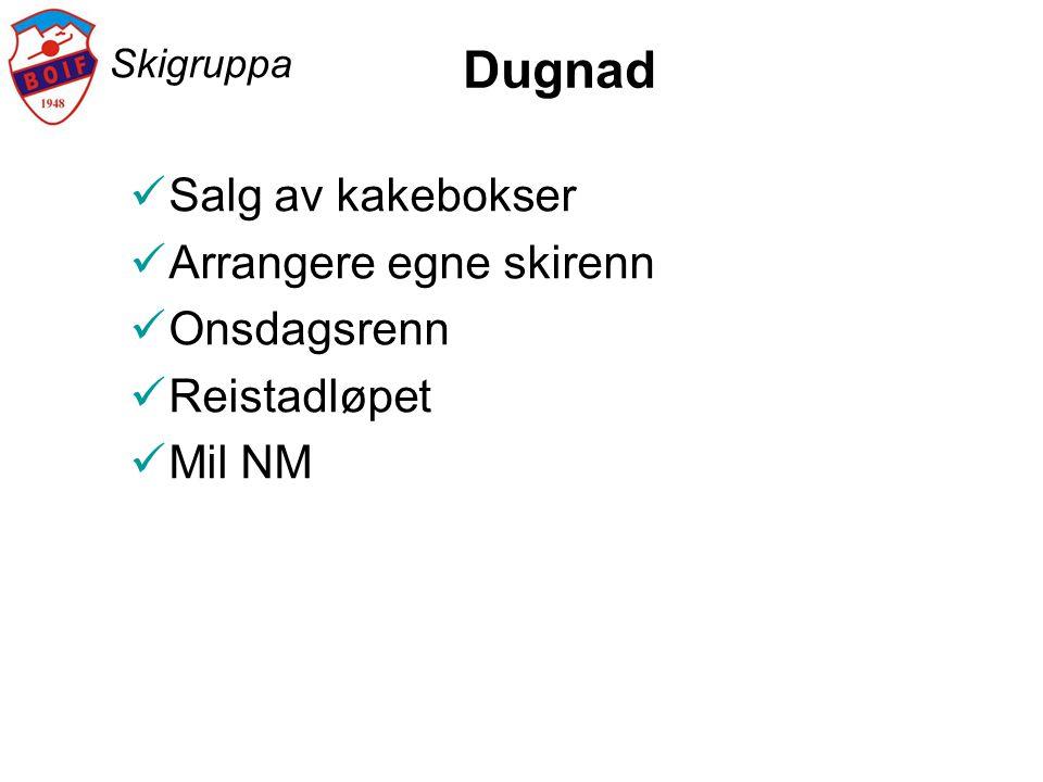 Skigruppa Dugnad  Salg av kakebokser  Arrangere egne skirenn  Onsdagsrenn  Reistadløpet  Mil NM