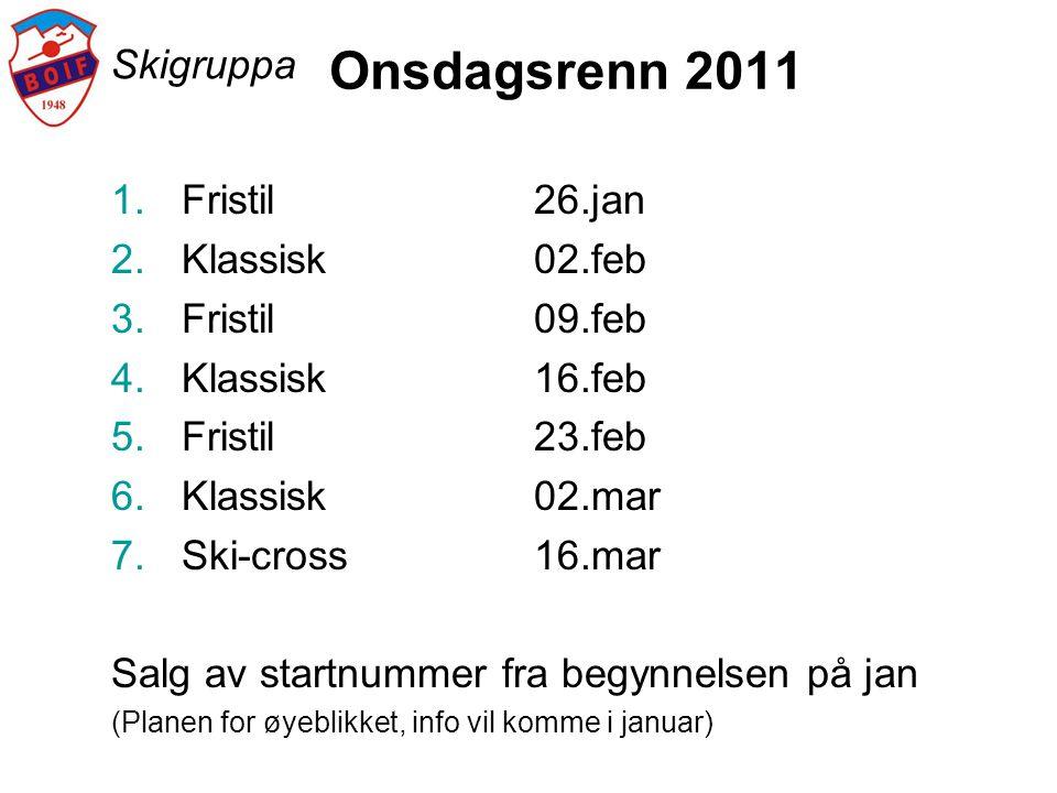 Skigruppa Onsdagsrenn 2011 1.Fristil26.jan 2.Klassisk02.feb 3.Fristil09.feb 4.Klassisk16.feb 5.Fristil23.feb 6.Klassisk02.mar 7.Ski-cross16.mar Salg a