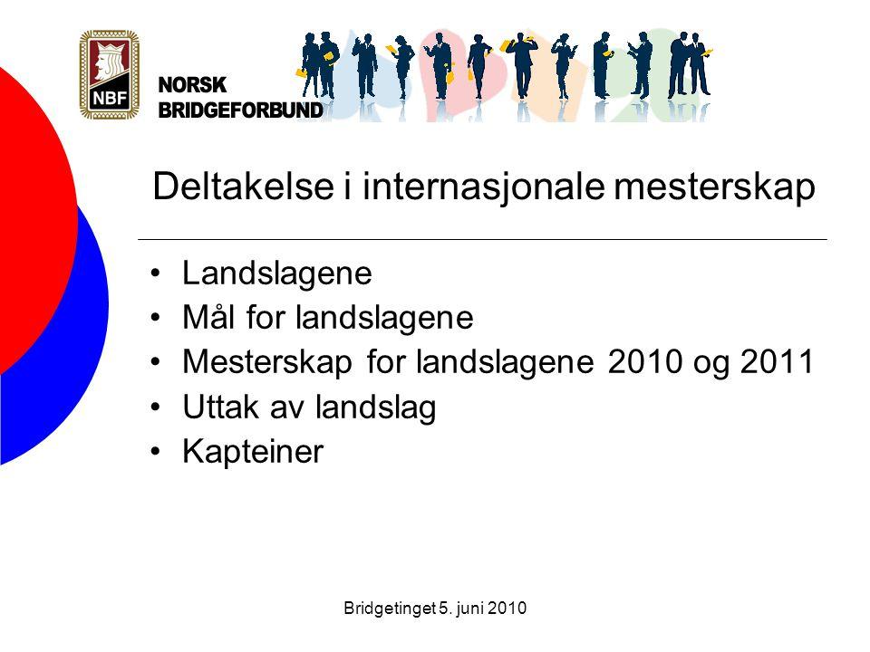 Bridgetinget 5. juni 2010 Deltakelse i internasjonale mesterskap •Landslagene •Mål for landslagene •Mesterskap for landslagene 2010 og 2011 •Uttak av