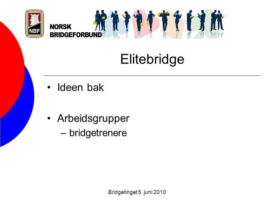 Bridgetinget 5. juni 2010 Elitebridge •Ideen bak •Arbeidsgrupper –bridgetrenere