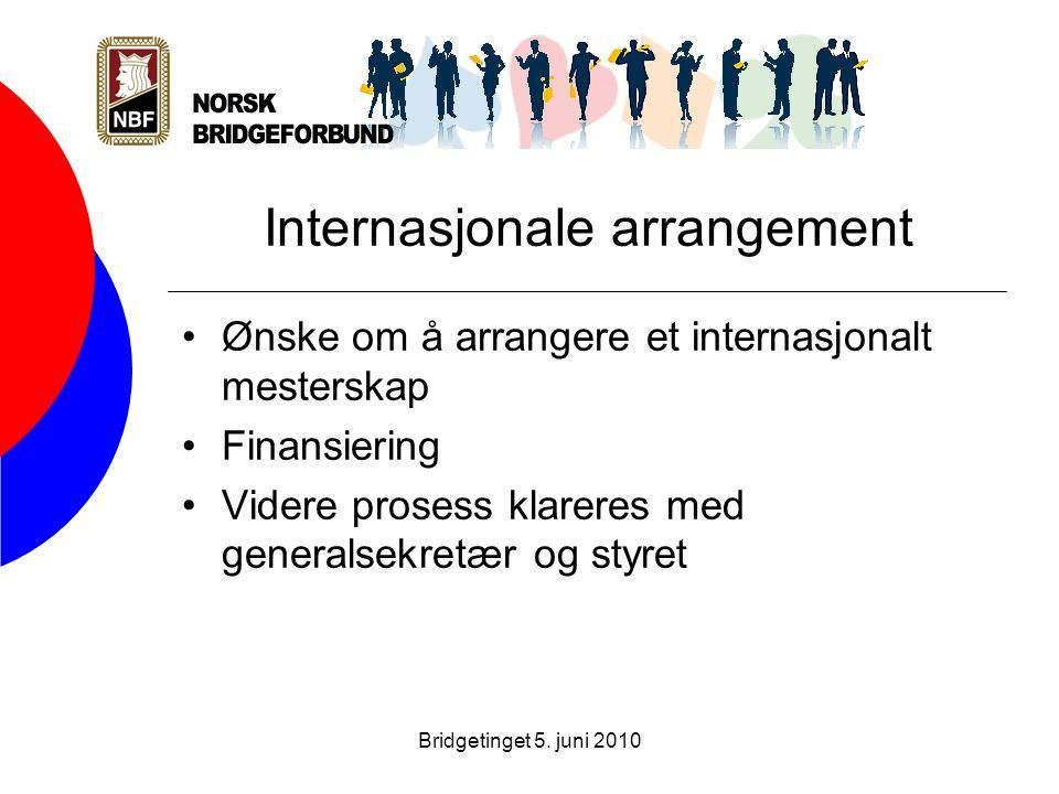 Bridgetinget 5. juni 2010 Internasjonale arrangement •Ønske om å arrangere et internasjonalt mesterskap •Finansiering •Videre prosess klareres med gen