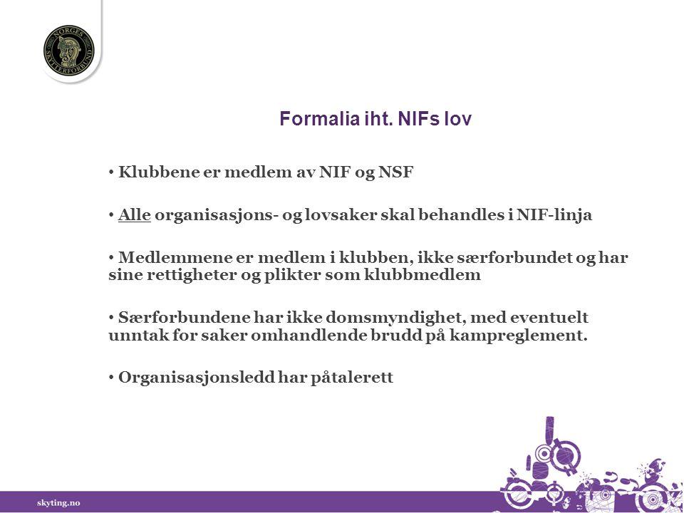 Formalia iht. NIFs lov • Klubbene er medlem av NIF og NSF • Alle organisasjons- og lovsaker skal behandles i NIF-linja • Medlemmene er medlem i klubbe