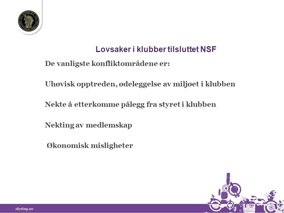 Lovsaker i klubber tilsluttet NSF De vanligste konfliktområdene er: Uhøvisk opptreden, ødeleggelse av miljøet i klubben Nekte å etterkomme pålegg fra