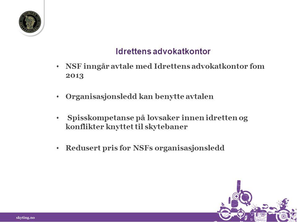 Idrettens advokatkontor • NSF inngår avtale med Idrettens advokatkontor fom 2013 • Organisasjonsledd kan benytte avtalen • Spisskompetanse på lovsaker