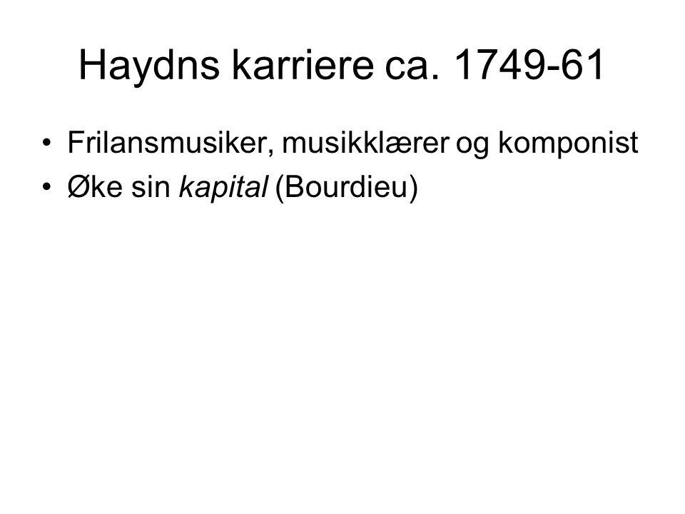 Haydns karriere ca. 1749-61 •Frilansmusiker, musikklærer og komponist •Øke sin kapital (Bourdieu)