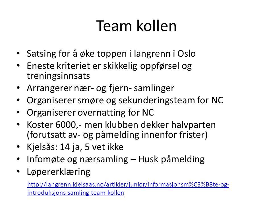 Team kollen • Satsing for å øke toppen i langrenn i Oslo • Eneste kriteriet er skikkelig oppførsel og treningsinnsats • Arrangerer nær- og fjern- saml