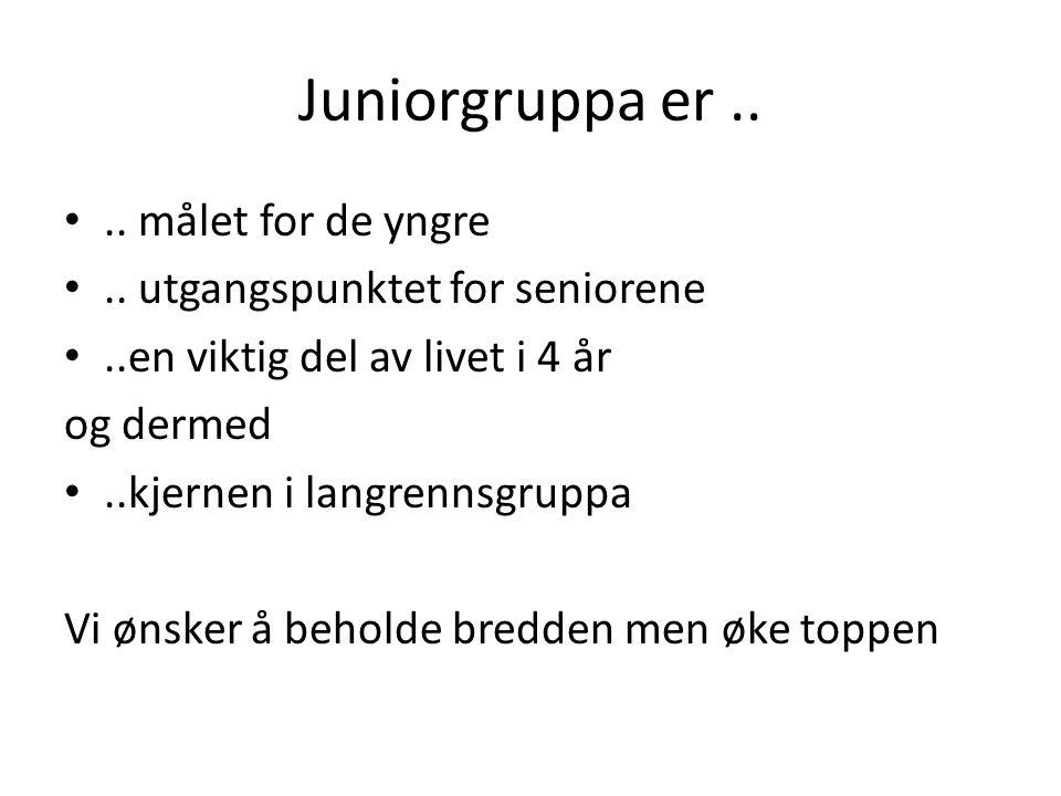 Juniorgruppa er.. •.. målet for de yngre •.. utgangspunktet for seniorene •..en viktig del av livet i 4 år og dermed •..kjernen i langrennsgruppa Vi ø
