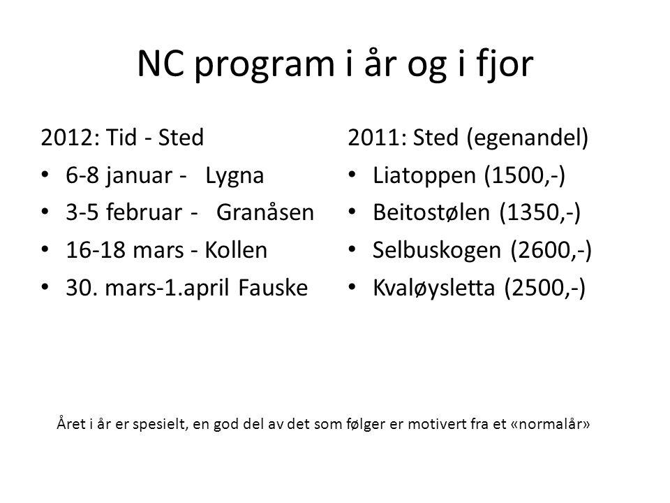 NC program i år og i fjor 2012: Tid - Sted • 6-8 januar - Lygna • 3-5 februar - Granåsen • 16-18 mars - Kollen • 30. mars-1.april Fauske 2011: Sted (e