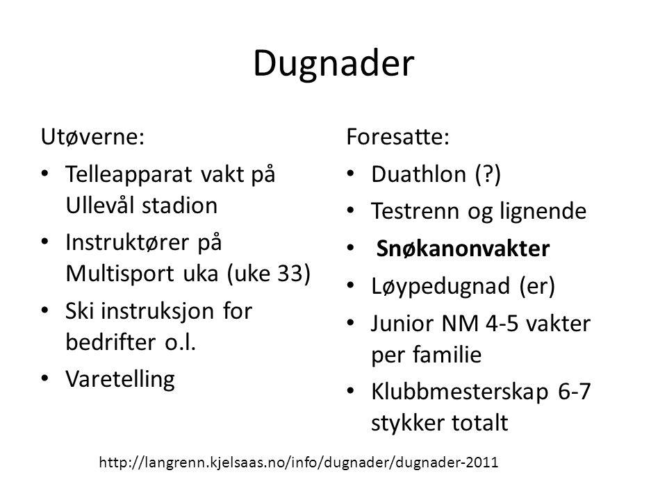 Dugnader Utøverne: • Telleapparat vakt på Ullevål stadion • Instruktører på Multisport uka (uke 33) • Ski instruksjon for bedrifter o.l. • Varetelling