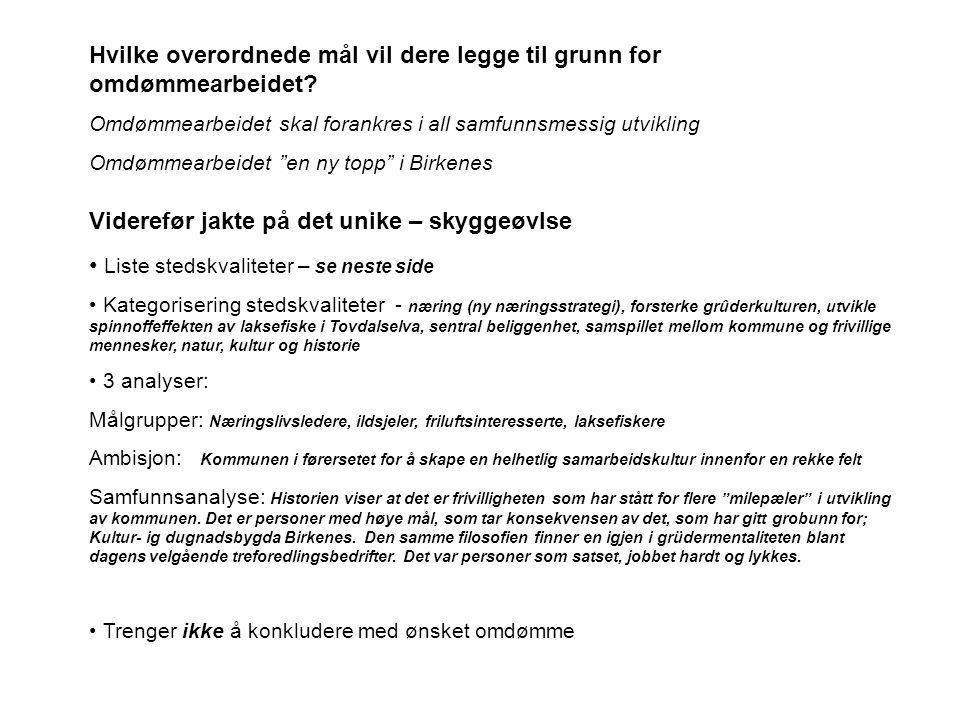 Navn på bygder - Birkeland, Herefoss og Engesland Opplistning av kvaliteter • Mange gode arbeidsplasser i det private næringsliv • Næringslivet går så det suser • Dyktige grûdere • Sentral beliggende i forhold til Agderbyen • Ringvirkninger av ny E18 mellom Grimstad og Kristiansand • Stor vekst i innbyggertall (Birkenes kommune runder snart 5.000 innbyggere) • Tovdalselva juvel - laksefiske – som gir nye, store muligheter innenfor reise- og næringsutvikling.