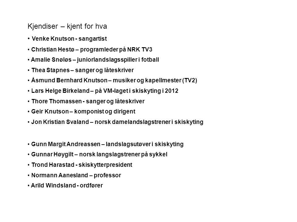 Kjendiser – kjent for hva • Venke Knutson - sangartist • Christian Hestø – programleder på NRK TV3 • Amalie Snøløs – juniorlandslagsspiller i fotball