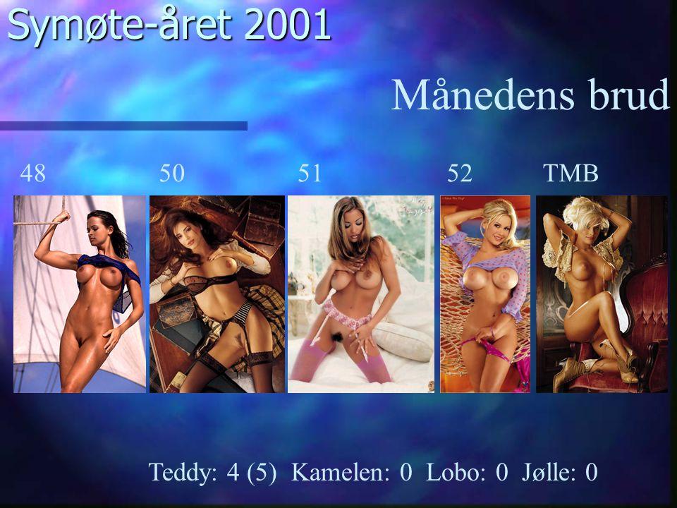 Symøte-året 2001 Månedens brud Teddy: 4 (5) Kamelen: 0 Lobo: 0 Jølle: 0 48TMB525150