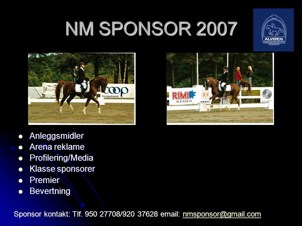 NM SPONSOR 2007  Anleggsmidler  Arena reklame  Profilering/Media  Klasse sponsorer  Premier  Bevertning Sponsor kontakt: Tlf. 950 27708/920 3762