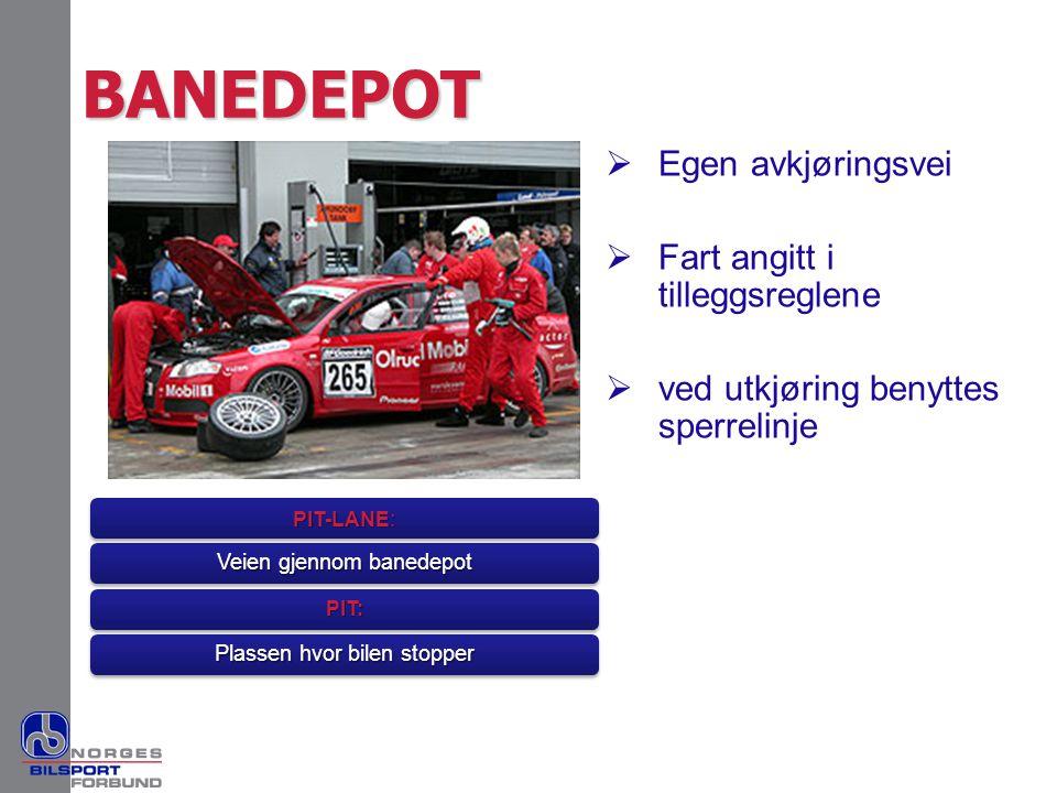 BANEDEPOT  Egen avkjøringsvei  Fart angitt i tilleggsreglene  ved utkjøring benyttes sperrelinje PIT-LANE : Veien gjennom banedepot PIT: Plassen hv