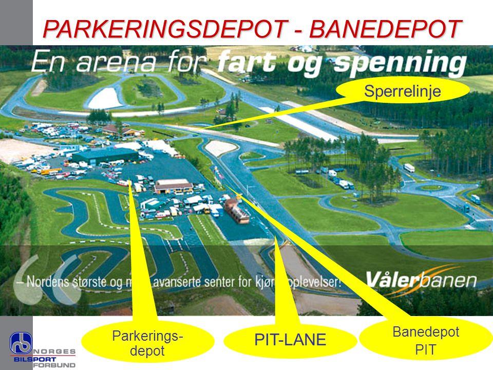 PARKERINGSDEPOT - BANEDEPOT Banedepot PIT PIT-LANE Parkerings- depot Sperrelinje