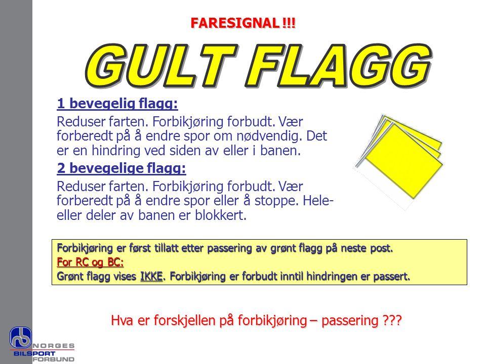 1 bevegelig flagg: Reduser farten. Forbikjøring forbudt. Vær forberedt på å endre spor om nødvendig. Det er en hindring ved siden av eller i banen. 2