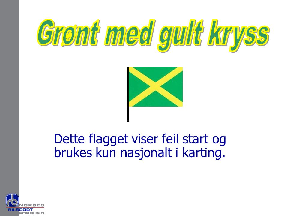 Dette flagget viser feil start og brukes kun nasjonalt i karting.