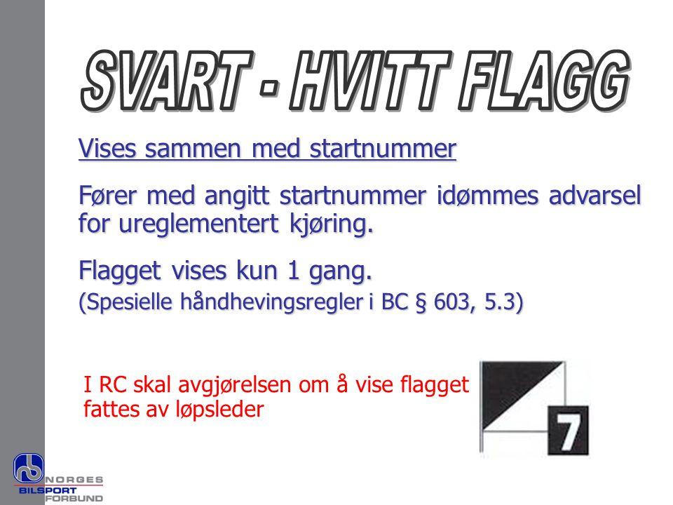 Vises sammen med startnummer Fører med angitt startnummer idømmes advarsel for ureglementert kjøring. Flagget vises kun 1 gang. (Spesielle håndhevings
