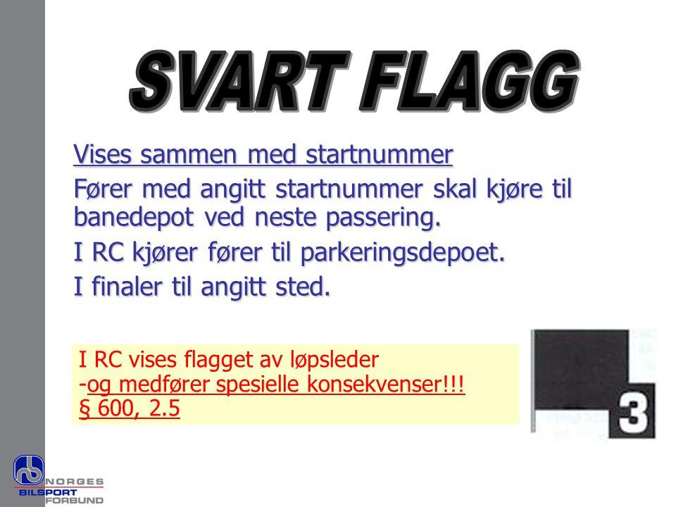 Vises sammen med startnummer Fører med angitt startnummer skal kjøre til banedepot ved neste passering. I RC kjører fører til parkeringsdepoet. I fina