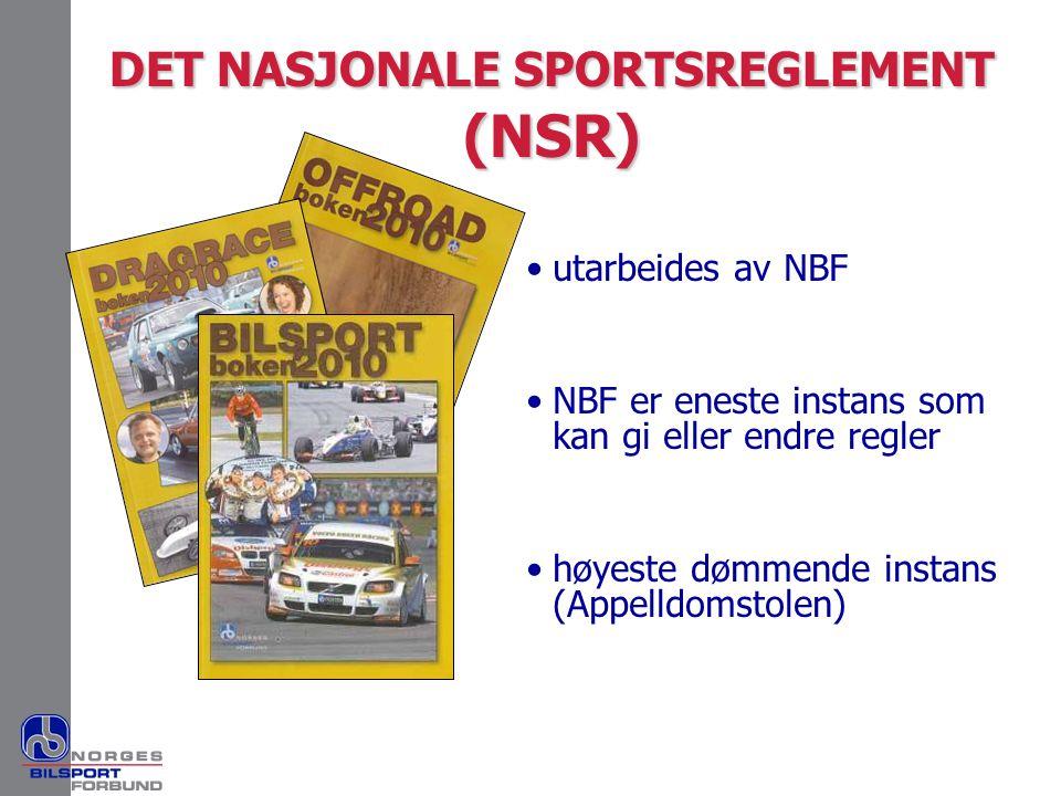 DET NASJONALE SPORTSREGLEMENT (NSR) •utarbeides av NBF •NBF er eneste instans som kan gi eller endre regler •høyeste dømmende instans (Appelldomstolen