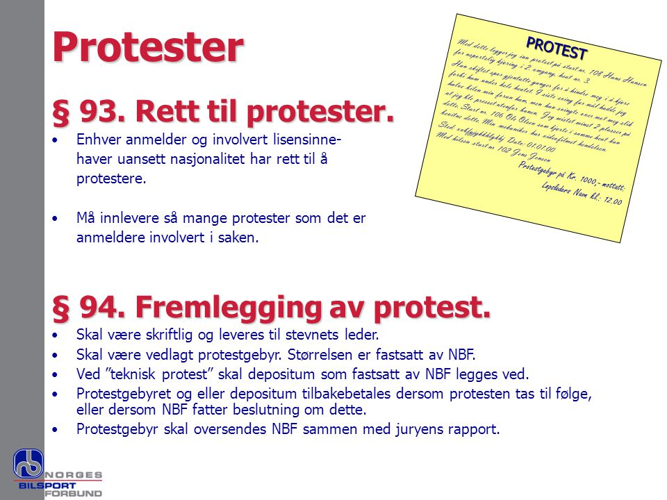 PROTEST Med dette legger jeg inn protest på start nr. 108 Hans Hansen for usportslig kjøring i 2. omgang, heat nr. 3. Han skiftet spor gjentatte gange
