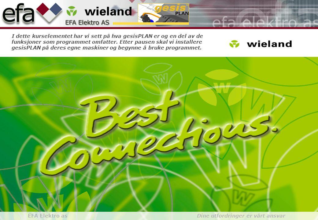 Wieland GroupBuilding Installationgesis gesisPLAN EFA Elektro as Dine utfordringer er vårt ansvar I dette kurselementet har vi sett på hva gesisPLAN er og en del av de funksjoner som programmet omfatter.