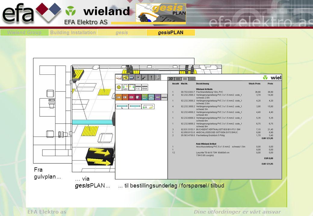 Wieland GroupBuilding Installationgesis gesisPLAN EFA Elektro as Dine utfordringer er vårt ansvar Resultatet av å bruke pluggbar installasjon....