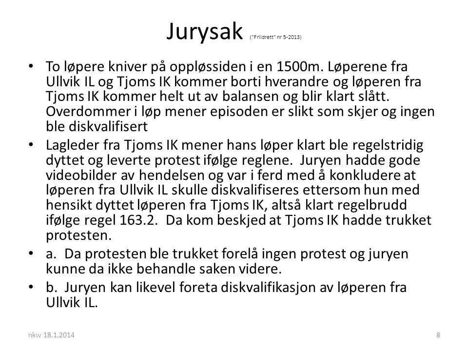 Jurysak ( Friidrett nr 5-2013) • To løpere kniver på oppløssiden i en 1500m.