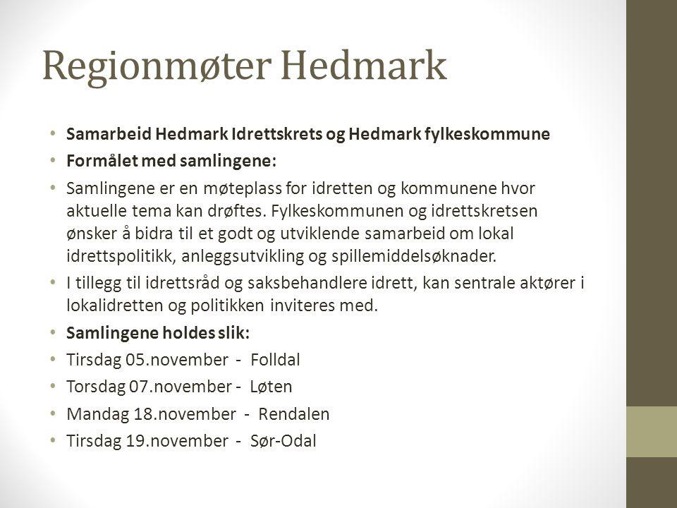 Regionmøter Hedmark • Samarbeid Hedmark Idrettskrets og Hedmark fylkeskommune • Formålet med samlingene: • Samlingene er en møteplass for idretten og