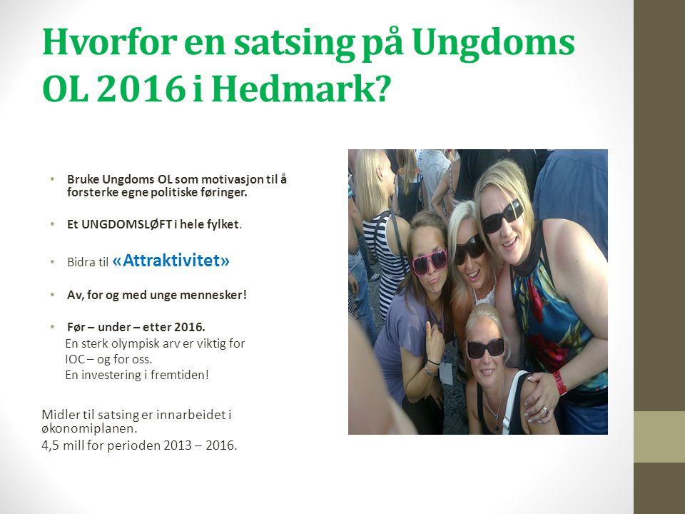 Hvorfor en satsing på Ungdoms OL 2016 i Hedmark? • Bruke Ungdoms OL som motivasjon til å forsterke egne politiske føringer. • Et UNGDOMSLØFT i hele fy