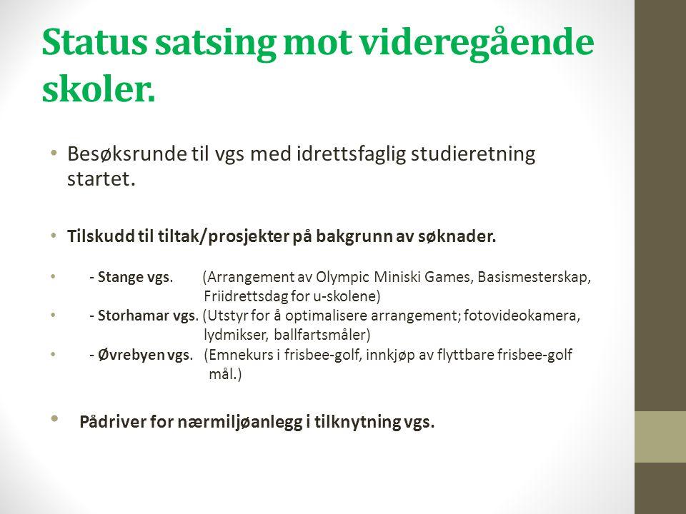 Status satsing mot videregående skoler. • Besøksrunde til vgs med idrettsfaglig studieretning startet. • Tilskudd til tiltak/prosjekter på bakgrunn av