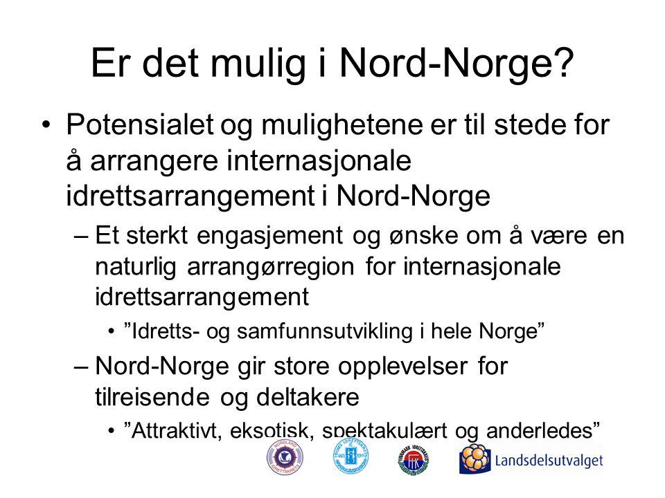 Er det mulig i Nord-Norge? •Potensialet og mulighetene er til stede for å arrangere internasjonale idrettsarrangement i Nord-Norge –Et sterkt engasjem