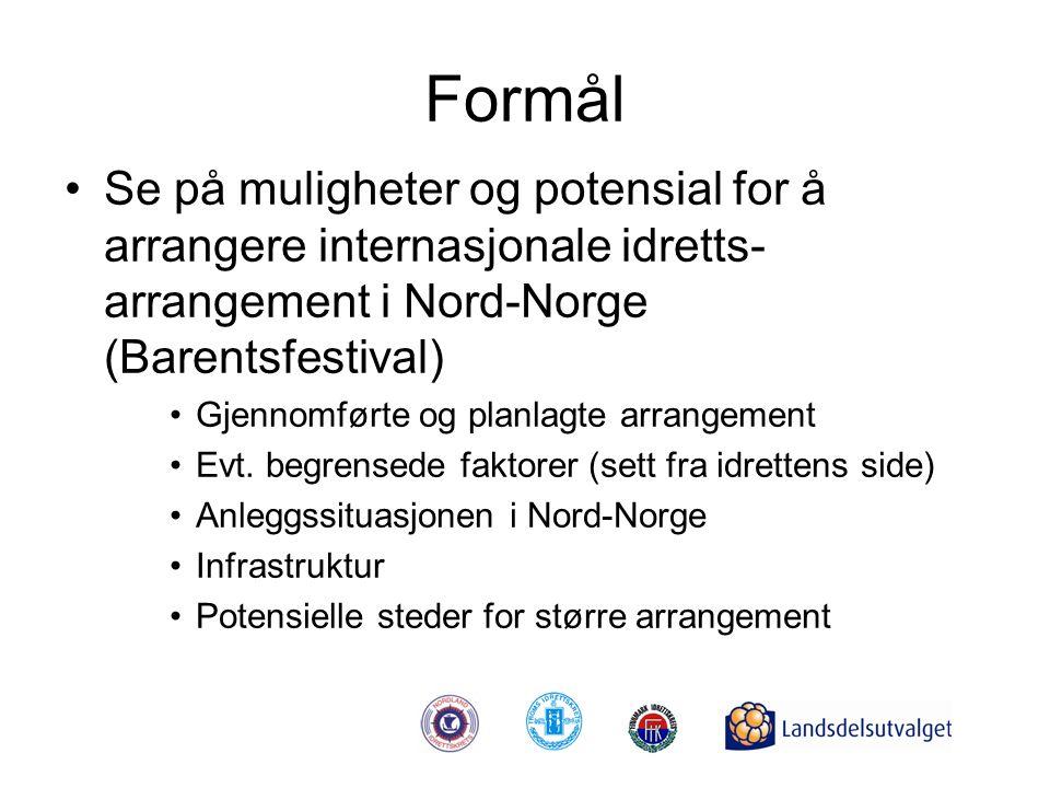 Formål •Se på muligheter og potensial for å arrangere internasjonale idretts- arrangement i Nord-Norge (Barentsfestival) •Gjennomførte og planlagte ar