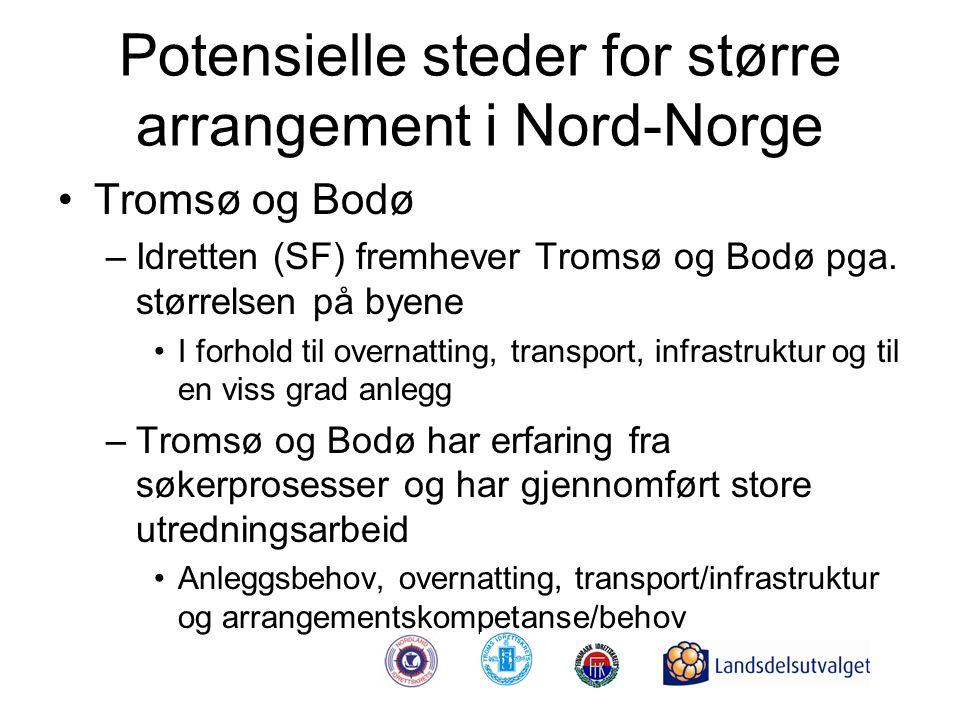 Potensielle steder for større arrangement i Nord-Norge •Tromsø og Bodø –Idretten (SF) fremhever Tromsø og Bodø pga. størrelsen på byene •I forhold til