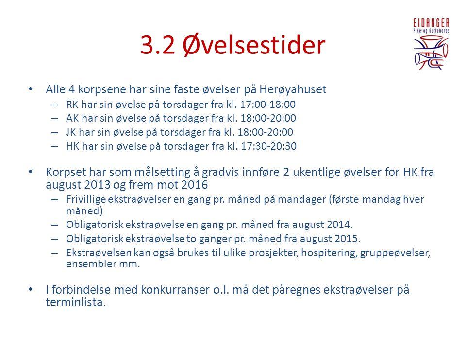 3.2 Øvelsestider • Alle 4 korpsene har sine faste øvelser på Herøyahuset – RK har sin øvelse på torsdager fra kl. 17:00-18:00 – AK har sin øvelse på t
