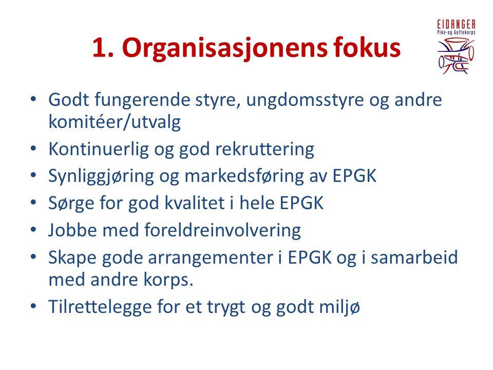 1. Organisasjonens fokus • Godt fungerende styre, ungdomsstyre og andre komitéer/utvalg • Kontinuerlig og god rekruttering • Synliggjøring og markedsf