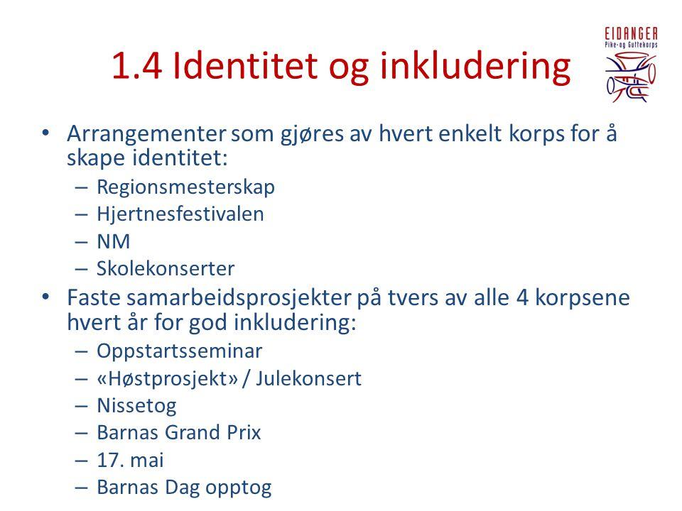 1.4 Identitet og inkludering • Arrangementer som gjøres av hvert enkelt korps for å skape identitet: – Regionsmesterskap – Hjertnesfestivalen – NM – S