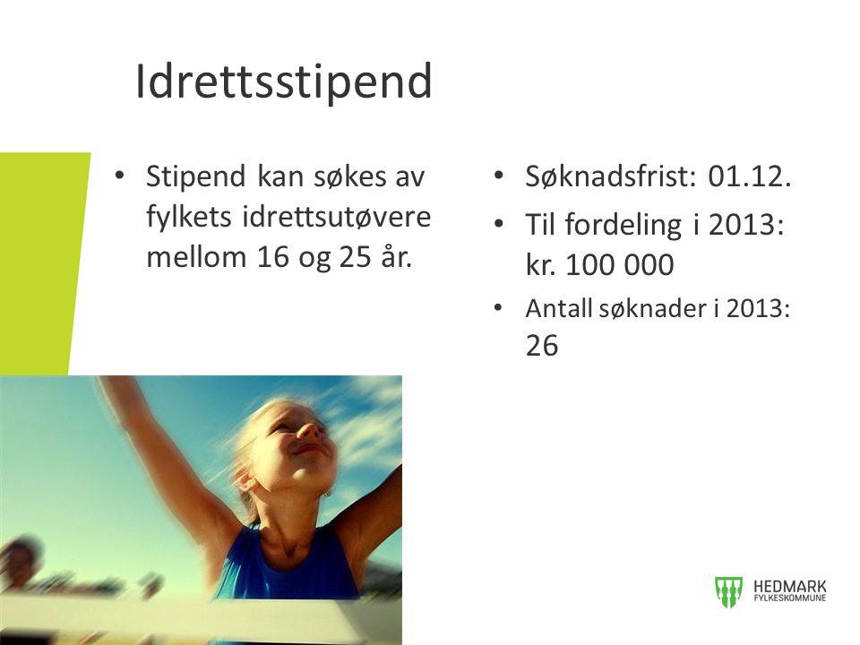 Idrettsstipend • Stipend kan søkes av fylkets idrettsutøvere mellom 16 og 25 år. • Søknadsfrist: 01.12. • Til fordeling i 2013: kr. 100 000 • Antall s