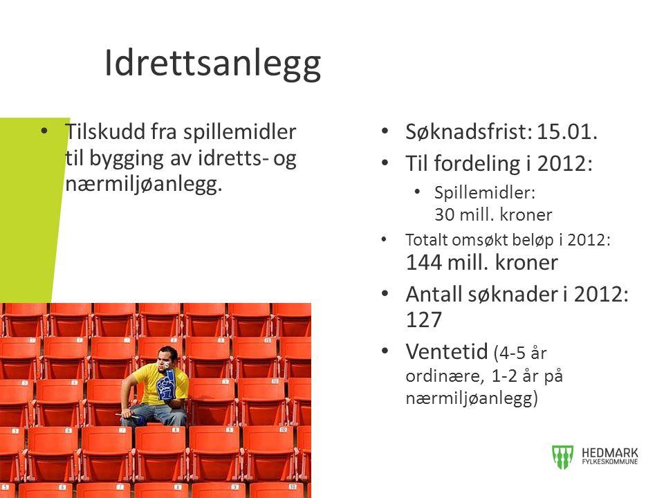 Idrettsanlegg • Tilskudd fra spillemidler til bygging av idretts- og nærmiljøanlegg. • Søknadsfrist: 15.01. • Til fordeling i 2012: • Spillemidler: 30