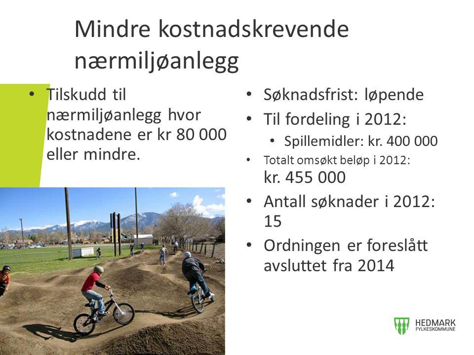 Mindre kostnadskrevende nærmiljøanlegg • Tilskudd til nærmiljøanlegg hvor kostnadene er kr 80 000 eller mindre. • Søknadsfrist: løpende • Til fordelin