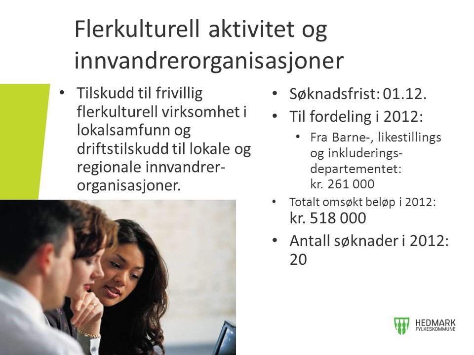 Flerkulturell aktivitet og innvandrerorganisasjoner • Tilskudd til frivillig flerkulturell virksomhet i lokalsamfunn og driftstilskudd til lokale og r