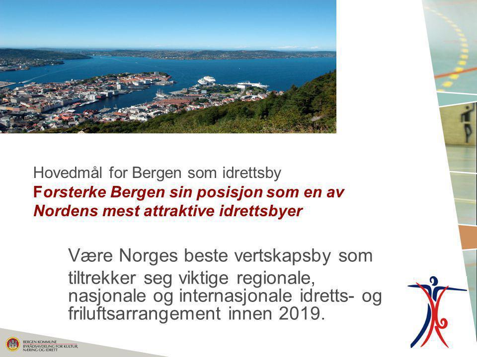 Hovedmål for Bergen som idrettsby Forsterke Bergen sin posisjon som en av Nordens mest attraktive idrettsbyer Være Norges beste vertskapsby som tiltre