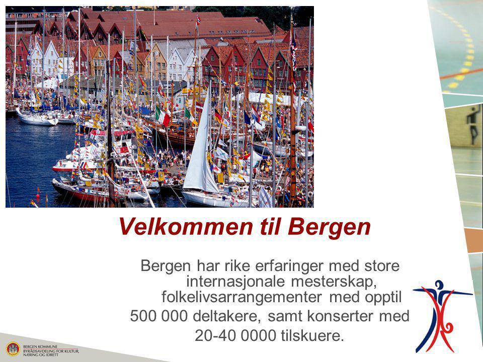 Velkommen til Bergen Bergen har rike erfaringer med store internasjonale mesterskap, folkelivsarrangementer med opptil 500 000 deltakere, samt konsert
