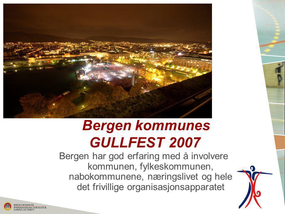 Bergen kommunes GULLFEST 2007 Bergen har god erfaring med å involvere kommunen, fylkeskommunen, nabokommunene, næringslivet og hele det frivillige org